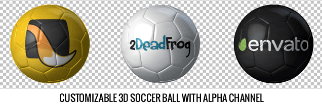 Balls And Flags After Effects Template - Customizable 3D Soccer Ball With Alpha Channel.