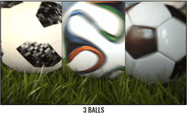 Soccer Ball Rolling Across The Field After Effects Template - 3 balls.
