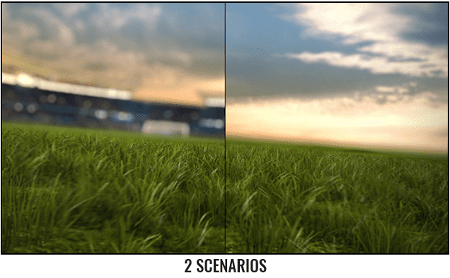 Soccer Ball Rolling Across The Field After Effects Template - Two scenarios.