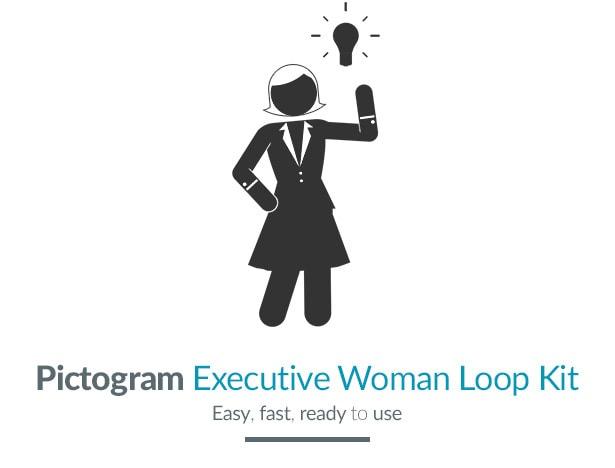 Pictogram Executive Woman Loop Kit Motion Graphics Element - Title image