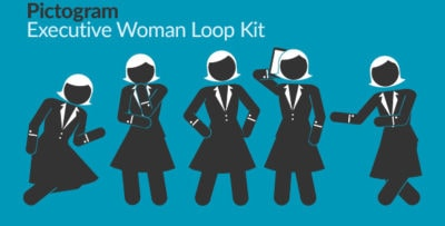 Pictogram Executive Woman Loop Kit Motion Graphics Element -Thumb.