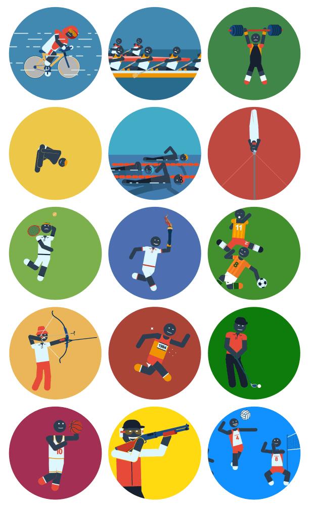 Pictogram Sport Icons Motion Graphics Element .